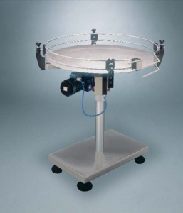 Motorized rotating table with s- s disc and support frame